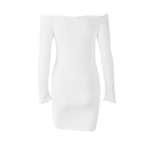 de Longues Les Robes d'paules Honestyi Bouton Collier Mode Hors Seule Tablier Robes Occasionnelles Femmes Blanc pice Slash Manches Jupe Couleur Une de Unie Cou Une qzwxfpnv
