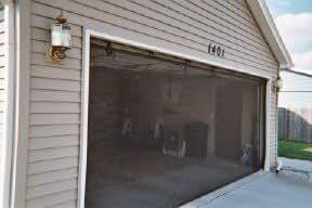 Garage door screen standard with zipper 16x7 black for 16 x7 garage door