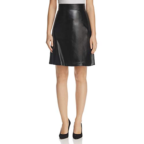 Theory Womens Faux Leather High Waist Mini Skirt Black 2