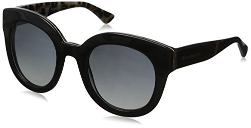 D&G Dolce & Gabbana Women's 0DG4235 Round Polarized Sunglasses,Top Black/Leopard,49 - Dolce 2014 And Gabbana Sunglasses
