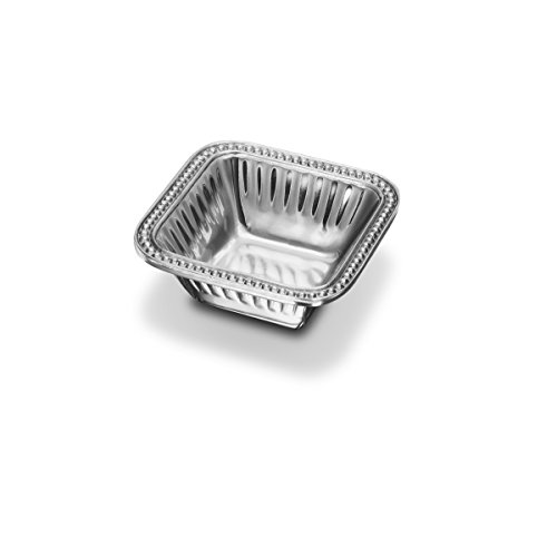 - Wilton Armetale Flutes and Pearls Square Dip Serving Bowl