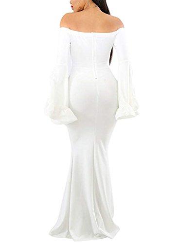 Benegreat Manches Longues Femmes Découpé Robes De Soirée De Cou De Tortue Moulante Robe De Soirée Maxi Blanc
