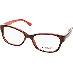 Vogue VO2814 Eyeglass Frames 2105-51 - Top Dark Havana Red Frame, Demo Lens VO2814-2105-51