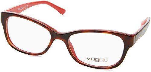 Vogue VO2814 Eyeglass Frames 2105-51 - Top Dark Havana Red Frame, Demo Lens - Eyeglass Vogue Red Frames