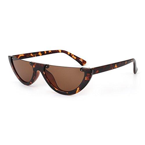 ROYAL GIRL Fashion Cat Eye Sunglasses Women Half Frame Flat Top Designer Shades (C3 - Rimless Shades