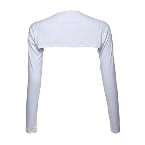YEESAM Bolero Shrug Womens Long Sleeved Bolero-Style Arm Sleeves - Hijab Accessories (White) -
