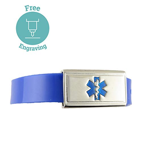 (Free Custom Engraving, Kid's, Child Medical Alert ID Bracelet - Adjustable Size - Jelly - Royal)