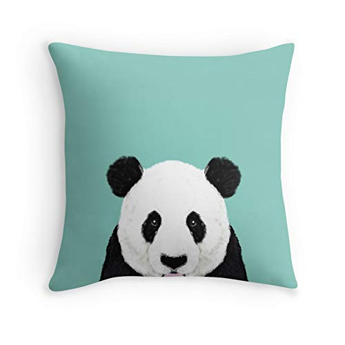 Panda - mint - cute black and white animal portrait, design, illustration, animal cell phone, case, panda, Pillow for Sofa Couch Living Room Bed Decorative(Square 18x18)