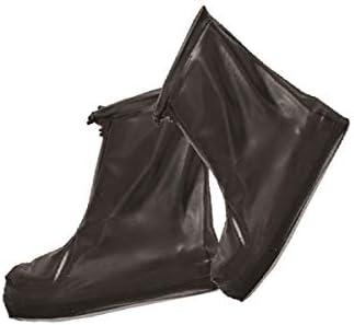 XHYRB レインブーツ、メンズレインブーツ、ノンスリップ耐摩耗防水靴カバー、雨の旅行スノーブーツ 防水靴、防雨カバー、長靴 (Color : Black, Size : L)