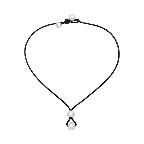 Yunhan Pearls White Freshwater Cultured Pearl Necklace with Black Leather Choker 16.5'' - Abalone Cultured Pearl Necklace