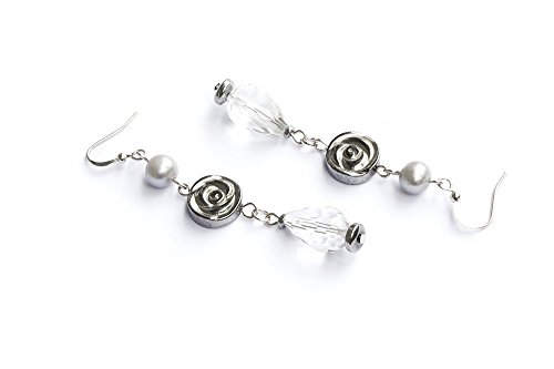 Earrings on hook with segment of gray freshwater-cultured pearls, silver hematite and crystal.