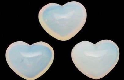 3 Aaa Beautiful Opalite Gemstone Puffy Hearts Each Organza Pouch