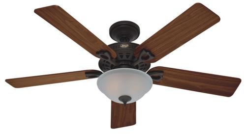 Frosted Bowl Fan Light - Hunter 22459 Astoria 52-Inch Single Light 5-Blade Ceiling Fan, New Bronze with 5 Walnut/Medium Oak Blades and Frosted Glass Light Bowl