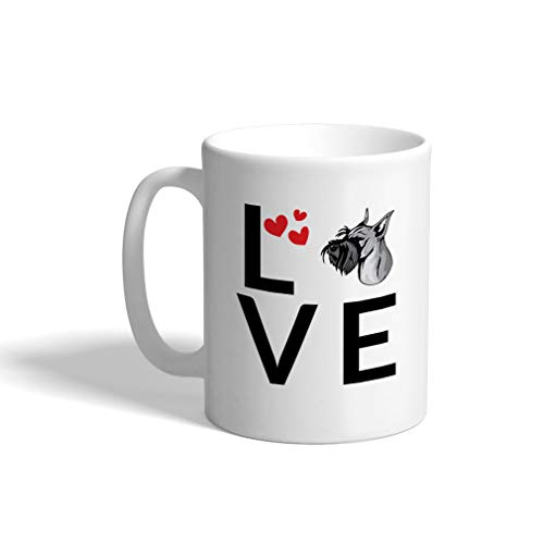 (Custom Funny Coffee Mug Coffee Cup Love Hearts Standard Schnauzer Dog White Ceramic Tea Cup 11 OZ Design Only)
