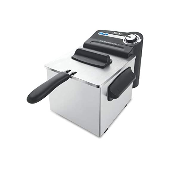 Inalsa Professional 2 Fryer, 18/8 Steel, 2 Liter, Digital Timer, 1700 W, Detachable, Dishwasher Safe, European Energy Efficiency Standard, Stainless Steel, (Grey) 1
