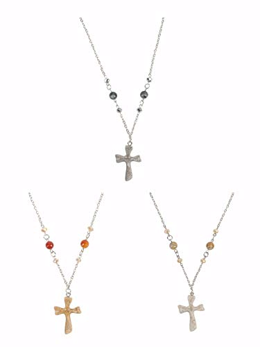 My Lord's Cross Metallic Multicolored 18 x 2 Metal and Glass Necklaces Set of 3