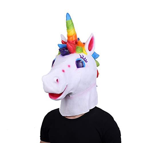 Lepy Unicorn Mask Halloween Costume Latex Unicorn Animal Horse Mask Adult Size - Color (Colorful) ()