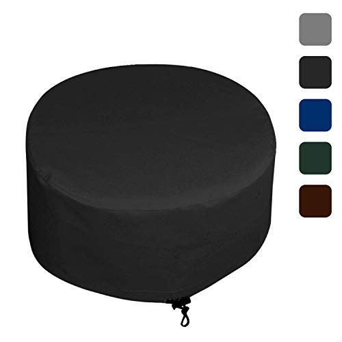 Fire Pit Outdoor Covers Waterproof, 100% UV Resistant, 18Oz PVC Heavy Duty Fabric with Air Pockets and Drawstring for Snugfit to Withstand Winds & Storms. Custom Made to any Size/Shape 36 Inch, Black by COVERS & ALL