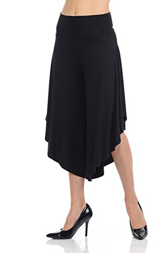 JDJ CO. Women's Layered Wide Leg Flowy Cropped Palazzo Pants, 3/4 Length High Waist Palazzo Wide Legs Capri Pants
