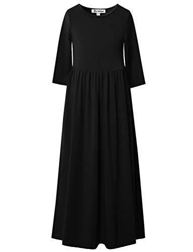 (Jxstar Big Girls Long Dresses 7-16 Ankle Length Maxi Dress Casual Black 3/4)