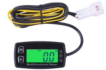 Contempo Views Tach/Temp/Hour Meter HM035T: Backlight LCD Gasoline Inductive Tachometer Theomometer for Paramotors, Microlights, Engines, Pumps, Generators, Boats, Motorcycles, Scooters, - View Meter