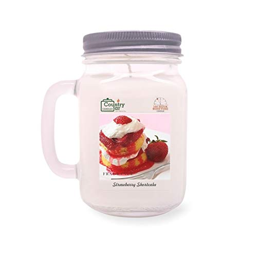 Country Jar Strawberry Shortcake Mason Jar Candle (16 oz.) 100% Natural Soy (3 OR More Sale!)