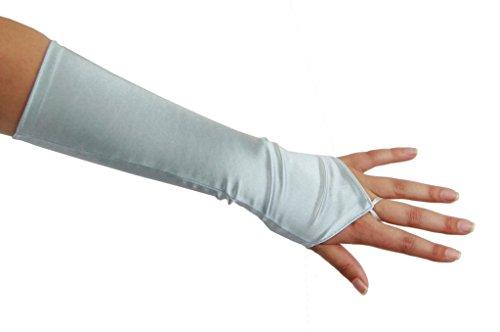 Long Nylon Light Blue Gloves (Cinderella Satin Fingerless Elbow Length Gloves, Light Blue)
