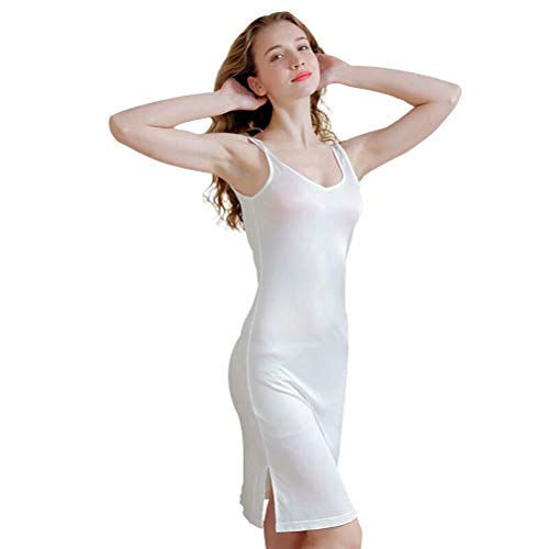 Silk Knit 100% - Zylioo 100% Mulberry Silk Cap Sleeve Full Slips Dresses Layering Tee Comfy Sexy Slim Fit Camisole Under Dress Underwear White