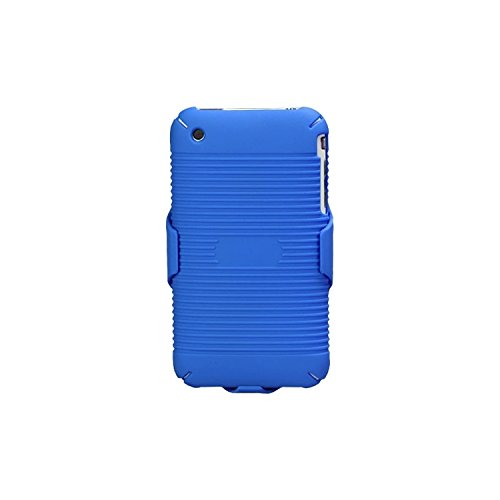 Blue Clip Faceplate Belt (MYBAT IPHONE3GHBHOLSFTTR02NP Shell Holster Combo Case for Samsung Galaxy with Kick-Stand and Belt Clip for Apple iPhone 3GS/3G - Retail Packaging - Blue)