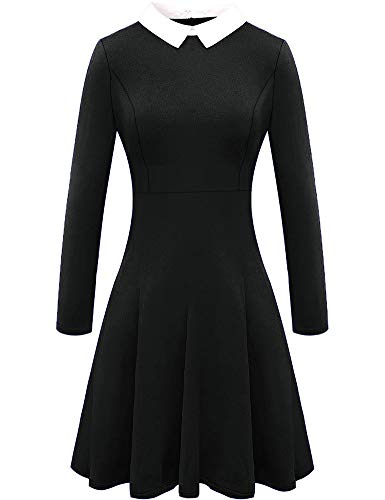 For G and PL Womens A Line Wednesday Addams Casual Long Sleeve Black Peter Pan Collar Flare Skater Dress Black S