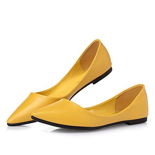 FLYRCX Zapatos Planos Ocasionales cómodos de la Parte Inferior Suave de la Boca Baja Zapatos de Trabajo de la Oficina Zapatos de Las señoras Solos yellow