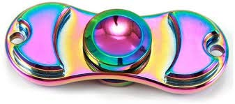 Premsons® Dual Metal Hand Spinner Toy   Metallic Rainbow   Multi Color
