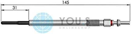 4 St/ück YOU.S Original Gl/ühkerzen 22472368 4,4 Volt L/änge 145 mm