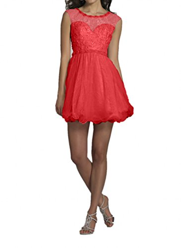 Rot Abendkleider Beige Cocktailkleider Kleider Damen MiniMini Promkleider Jugendweihe Charmant Kurzes Spitze qxvAT7a