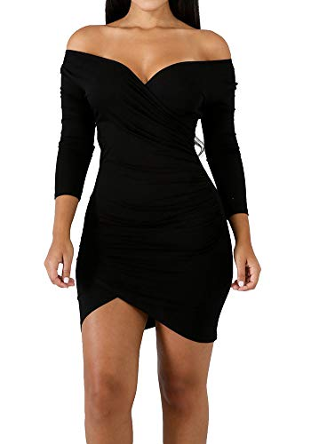 ECHOINE Women's Sexy Off Shoulder Deep V Neck Stretch Long Sleeve Ruched Bodycon Party Mini Dress Black L