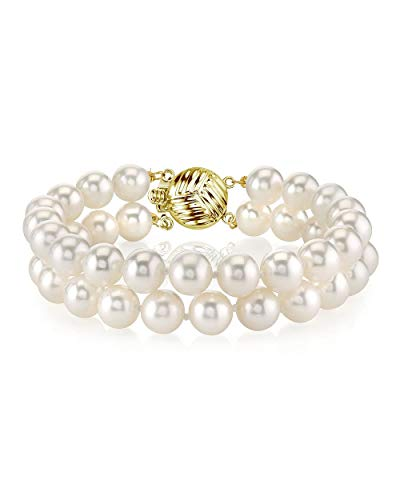THE PEARL SOURCE 14K Gold 6-7mm AAA Quality Round White Freshwater Cultured Pearl Double Strand Bracelet for Women ()