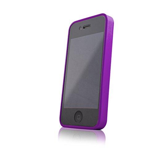 handy-point HYBRID ULTRA CLEAR mix Hardcase mit Gummirand, Kunststoffhülle Schutzhülle Schale Hülle für iPhone SE, 5, 5S , Lila