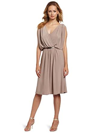 Jones New York Women's Matte Jersey Draped Armhole Dress, Beige, 4