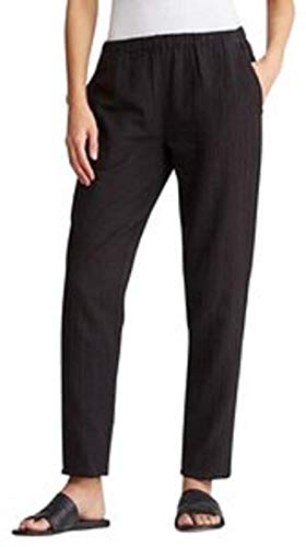 Eileen Fisher Crinkled Cotton Gauze Tapered Ankle Pants Black (Large)
