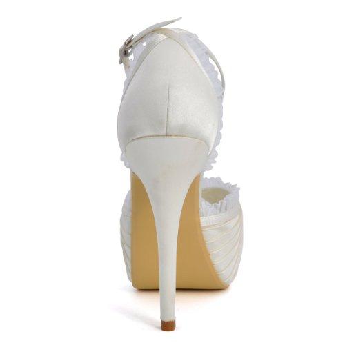 Elegantpark Ep11056-ip Plataforma Peep Toe Para Mujer Tacones Altos Satén Noche Prom Zapatos De Boda Nupcial Zapatos Marfil