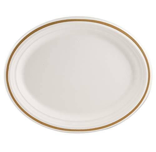 Eco Guardian 12.5 Inch Compostable Oval Plate, White with Printed Rim, 48 Pack ()
