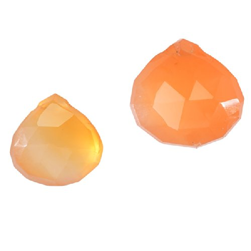 Orange Carnelian Gemstone Quality Cut Faceted Heart Briolette Beads 6-13mm - Pack of - Faceted Heart Briolette Beads