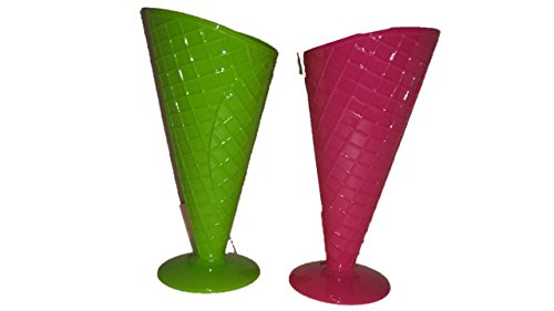 Pink Ice Cream Cone Glasses (Waffle Bowl - Rootbeer Float Glasses - Must Have Fun Ice Cream Sundae Waffle Cone Cup Set of 2 - Hot Pink and Lime Green - Ice Cream Dishes)