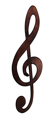 Bronze Finished Metal Treble Clef Music Note Wall Hanging - Clef Hanger