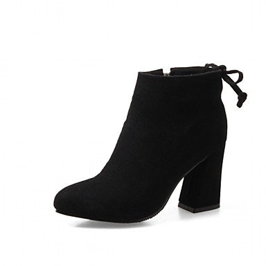 RTRY Women's Shoes Leatherette Fall Winter Fashion Boots Boots Chunky Heel Pointed Toe Booties/Ankle Boots Lace-up For Casual Office & Career US6.5-7 / EU37 / UK4.5-5 / CN37 sclO7VpBZl
