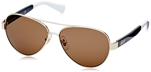 Ralph Lauren Women's 0ra4114 Aviator Sunglasses, Gold and Black, 58 - Aviators Lauren Ralph
