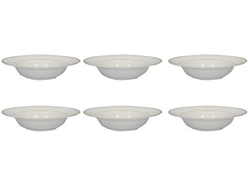Gold Rim Porcelain - Mikasa Cameo Gold Soup Bowl Set with Decorative Gold Rims, Porcelain, White, 22 cm (Set of 6 Christmas Soup Bowls)