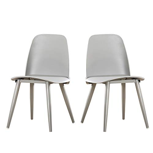 Soges Dining Room Chairs, Set of 2, Living Room Chairs, Kitchen Lounge Chairs, Heavy Duty Modern Home Chairs Set, All Grey BZ-1986-001-GY