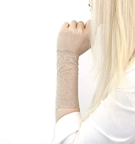 Lace Wrist Cuff Bracelet (Nude Tan) Stretch for Women ()
