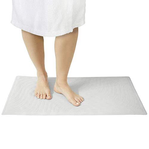 Vive Non Slip Shower Mat - XL Rubber Bathtub Safety Matting - No Slip or Skid Long Rectangle Tub Floor Grip - Kids, Elderly, Bath, Shower, Bathroom (Best Bath Mats For Elderly)